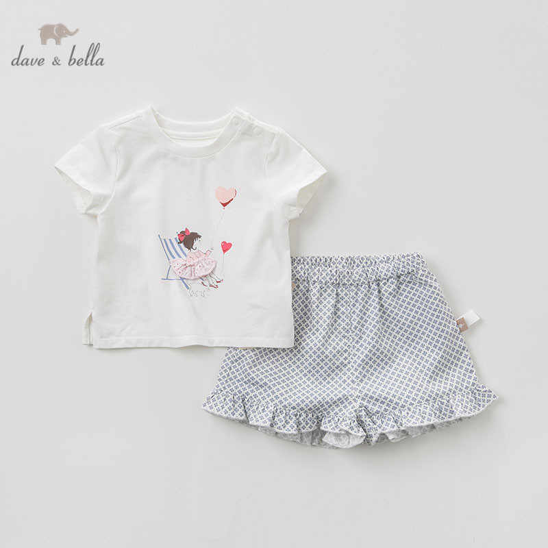 DB10496 dave bella summer baby girl fashion clothing sets girls lovely short sleeve suits children print clothes