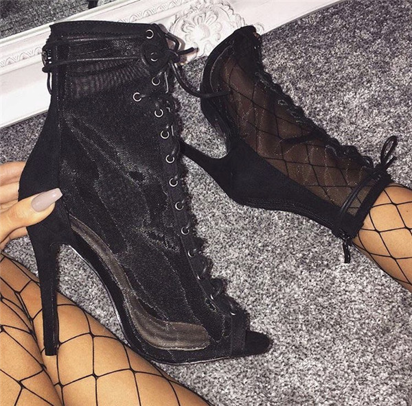 New Mesh Clear Combat Peep Toe Boots Women Back Zipper Lace Up Ankle Boot  Sexy Thin High Heels Booties Sandals Summer Woman 68c9e3e091
