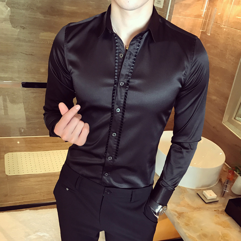 Vintage Shirts Mens Baroque Shirts Mens Club Outfits Camisa Smoking White Shirt Wedding Dress Luxury Social Slim Fit Black Royal