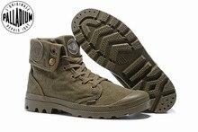 Baskets vertes de larmée en PALLADIUM Pallabrouse pour hommes, bottes militaires en toile, chaussures décontractées, taille européenne 39 45