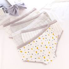 Women Teen Girl Cotton Mid-Rise Panties Letters Cute Cat Plaid Underwear Elastic(China)