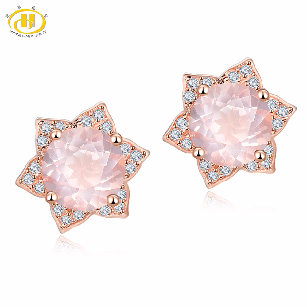 Hutang Gemstone Fine Jewelry Natural Quartz Ear Stud Earrrings Rose Gold Plated 925 Sterling Silver Earring for Women Gift New