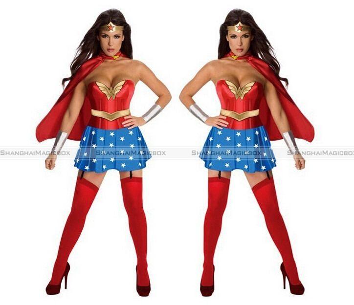 Sexy Wonder Woman Superhero Costume Halloween Fancy Dress -1714