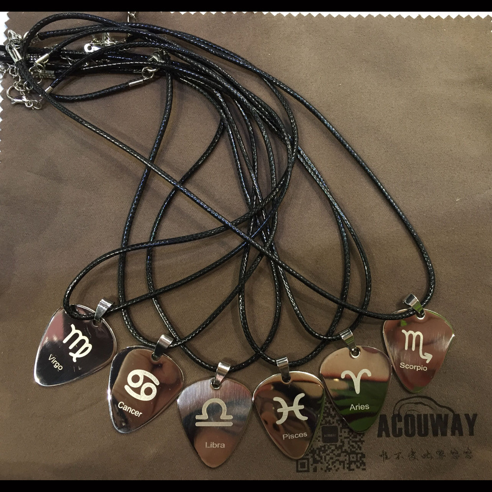Acouway Guitar Pick Necklace pendant Stainless Steel black chain /Aries Taurus Gemini Leo zodiac necklace bracelet pendant gifts no 7 stylish 316l stainless steel hand skeleton pendant necklace black silver