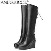 Groothandel! zwart Wit Rood Leer Lace Up Hoge Hak Platform Knie Hoge Winter Herfst Meisje Dame Vrouwtjes Womens Wedge Laarzen X834