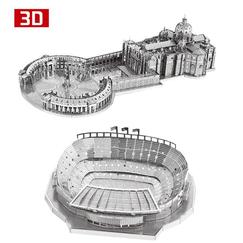Juego de 2 piezas unids NanYuan 3D Metal Nano puzle St Peter's Basilica campamento Nou estadio construir juego de modelos DIY 3D corte láser Jigsaw juguete