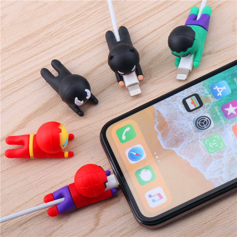 SIANCS Funny Cartoon Cable Bite Protector  Avengers Iron Man For Iphone Cable Winder Phone Holder Hero Model Protector