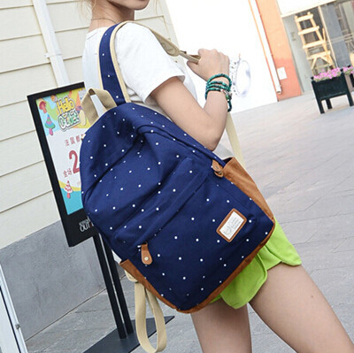 New 2015 casual canvas backpack women fashion school bags for girls dot printing backpack shoulder bags mochila wq131