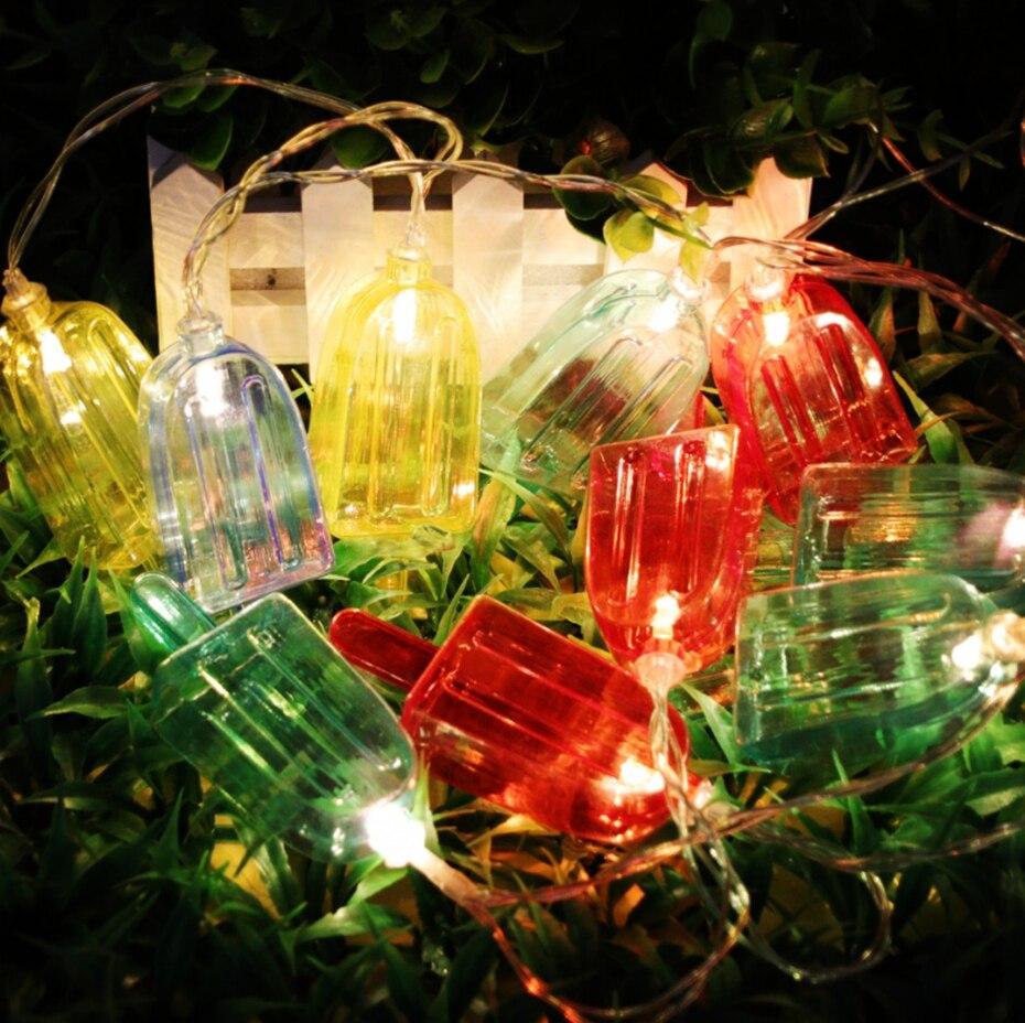 YINGTOUMANT Colours Ice Cream Battery Style LED Lamp String Light Christmas Holiday Wedding Party Decoration Lighting 1m 10LED