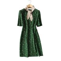 Mode Dot Robes 2018 Printemps D'été À Manches Courtes Genou-Longueur Mince Robe Femmes Soie Robes S/M/L
