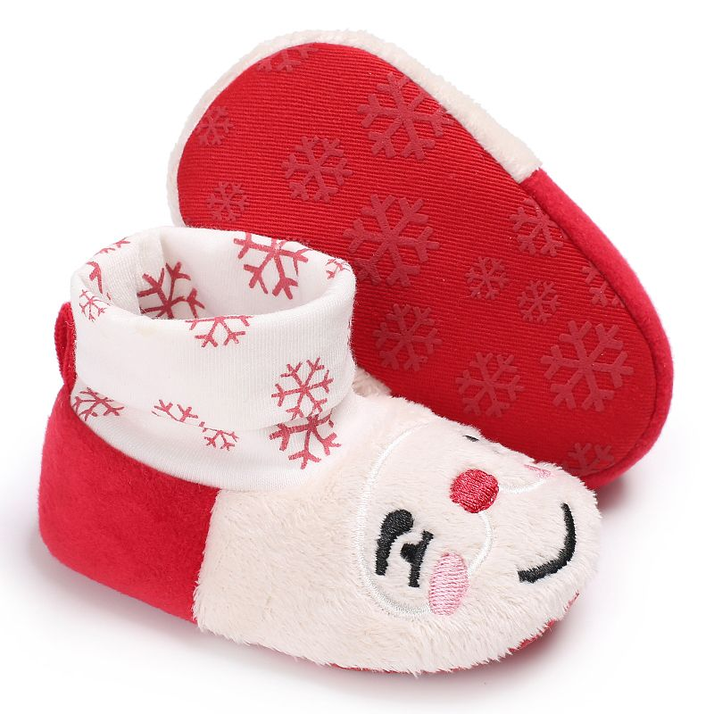 Lovely Baby Girl Shoes Soft Warm First Walker Cute Cat Cartoon Pattern Christmas Princess Toddler Shoes Non slip