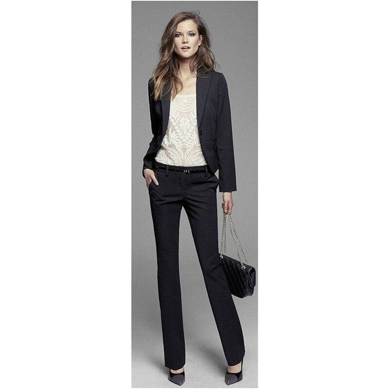 ジャケット+パンツレディースビジネススーツ黒ロングスリーブスリム女性オフィス制服レディースフォーマルなズボン2ピースブレザーカスタムメイド