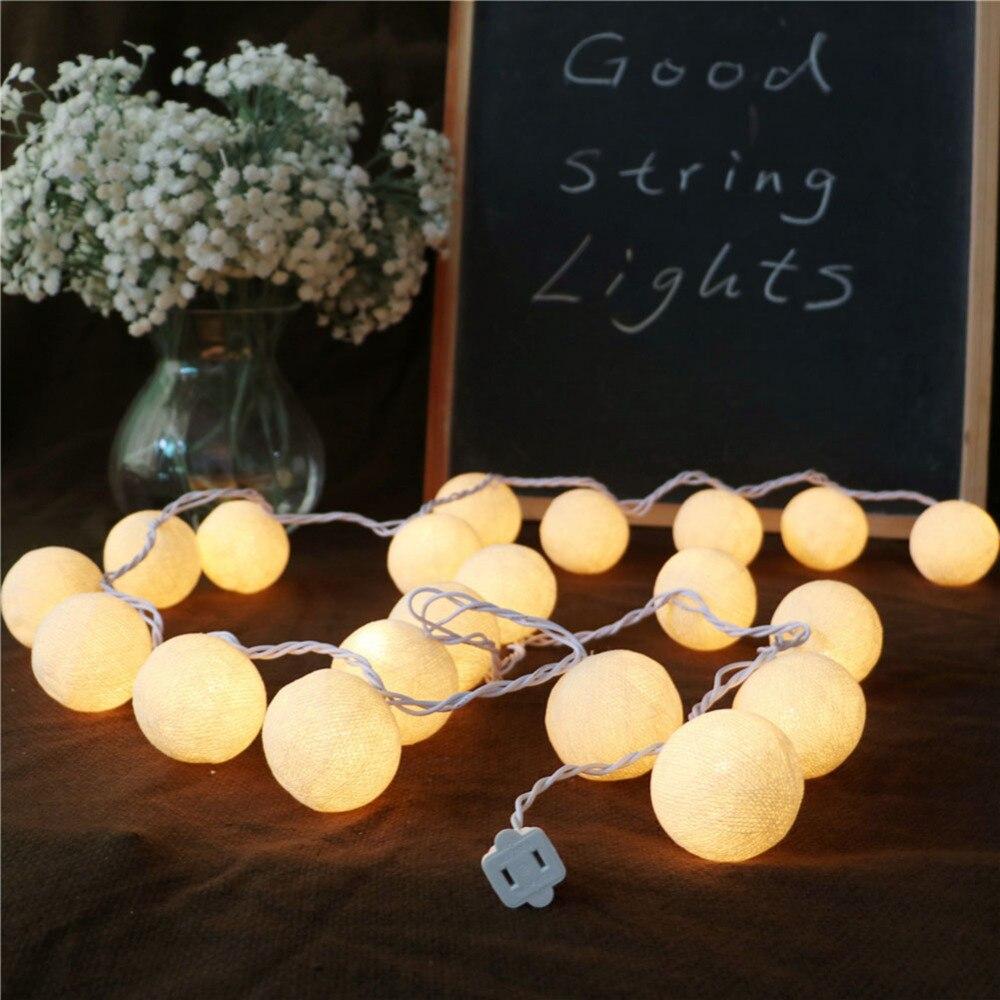 Christmas LED Decor String Light handmade Romantic cotton Ball LED lights Fairy wedding Deco ...