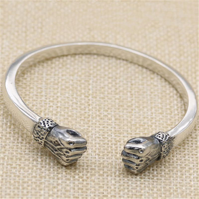 Pure 925 Sterling Silver Double Fist Cuff Bangle Bracelet Men Gothic Thai Silver 925 Bangle Cool Mens Personality Jewelry Gifts 27 5g solid sterling silver 925 skull cuff bangle bracelet men top fashion punk style rock star mens silver 925 jewelry gifts