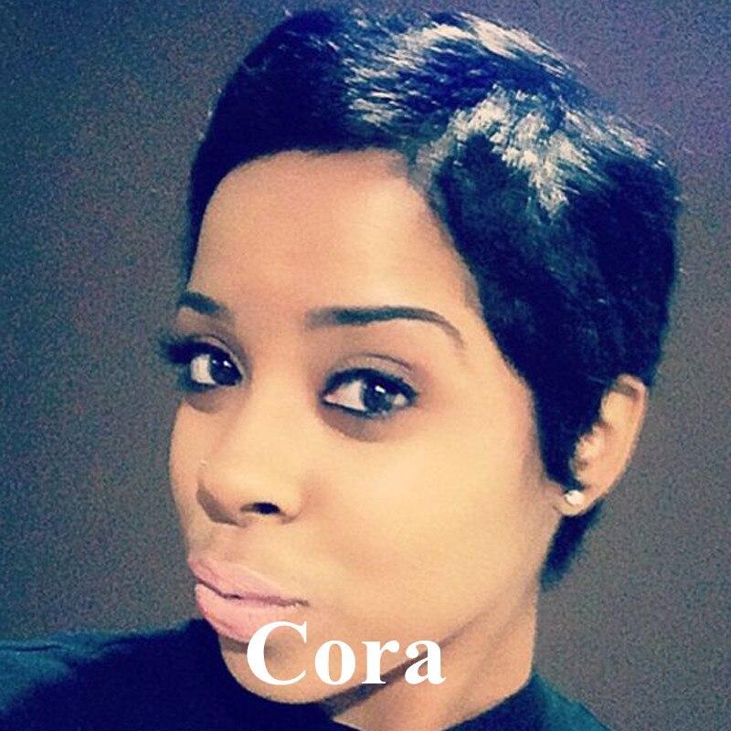 Rihanna Gaya Rambut Manusia Pendek Pixie Cut Wig Rambut Untuk - Gaya rambut pendek rihanna