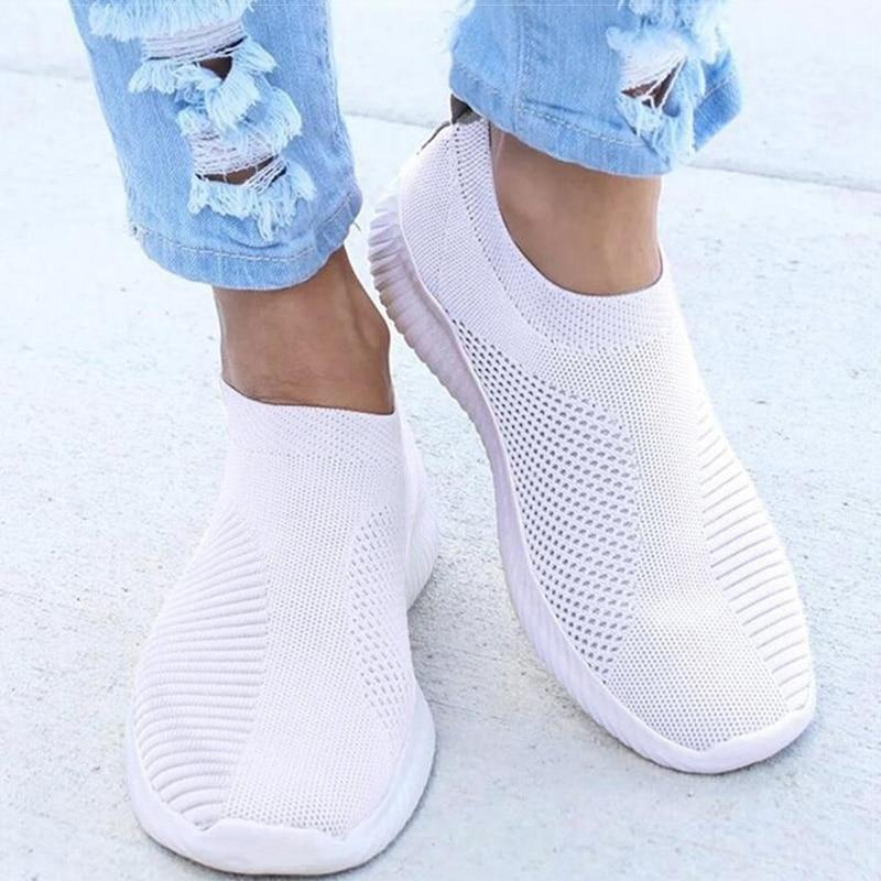 Women Shoes Knitting Sock Sneakers Women Spring Summer Slip On Flat Shoes Women Plus Size Loafers Flats Walking krasovki Famela 2