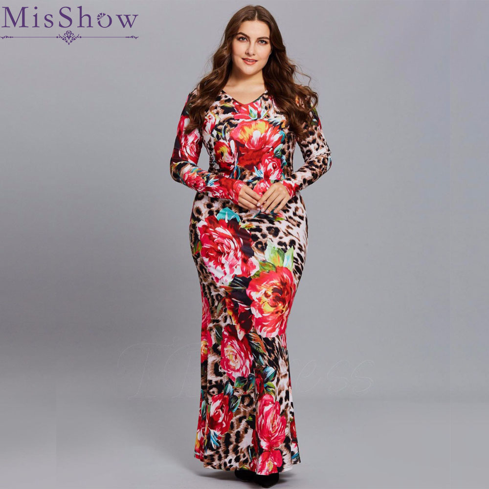2019 Women Plus Size Long Dress 3XL 4XL Round Neck Autumn Spring Casual Floral Print Big Size Floor-length Elastic Maxi Dress image