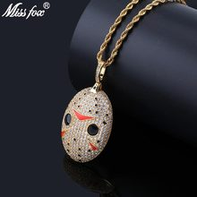 MISSFOX Hip Hop Chainsaw Red V Shape Pendant Necklace 24K Gold Plated AAA Cubic Zirconia Nightmare Before Christmas Nacklace(China)