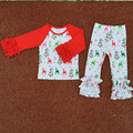 Wholesale Christmas Baby Icing Reglan Top Pants Girls Clothing Set Knit Cotton Elk Printed Winter Ruffle Girls Clothes 2pcs/set