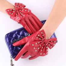 Fashion Female Full Finger Punk Rivet Dance Gloves Women Sport Fitness PU Leather Bow Mittens Luvas Tactical Gloves Guantes S85