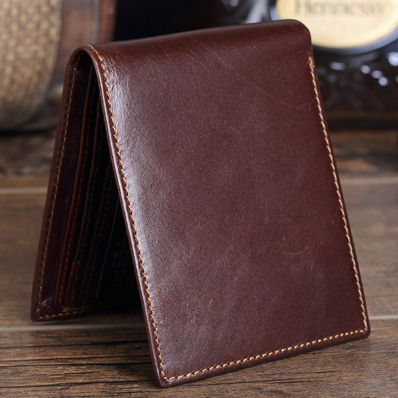 New Genuine Cow Leather Men Wallet Fashion Pocket Brand Trifold Design Casual Clutch Men Purse High Quality Male Card ID Holder padieoe new design metal wallet for male famous brand fashion men s business purse high quality men genuine leather card holder