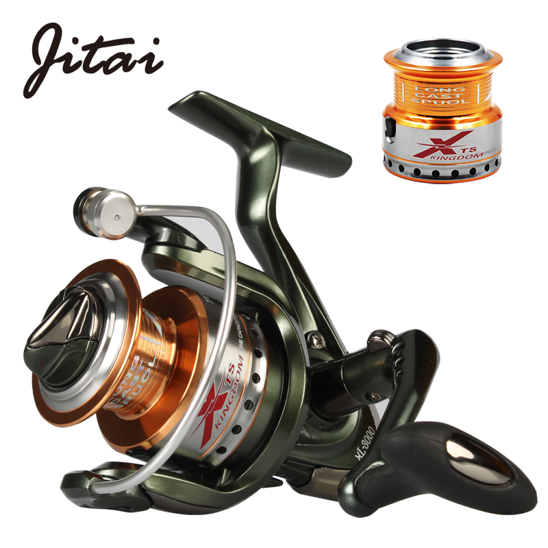 JITAI Spinning Reel All Metal Spools Smooth 5.2:1 Gear Ratio 9+1BB Freshwater Carp Spinning Reel with Free Spare Metal Spool