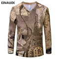 EINAUDI [Alisa]2017 New Summer Designer retro fashion 3D Printed T Shirt Men'S Long sleeve Tshirt Men'S T-Shirt S-3XL TJ33