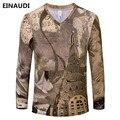 EINAUDI [Alisa] 2017 Verão Novo Designer De moda retro Impresso T 3D Camisa Dos Homens Tshirt Longo da luva Dos Homens T-Shirt S-3XL TJ33