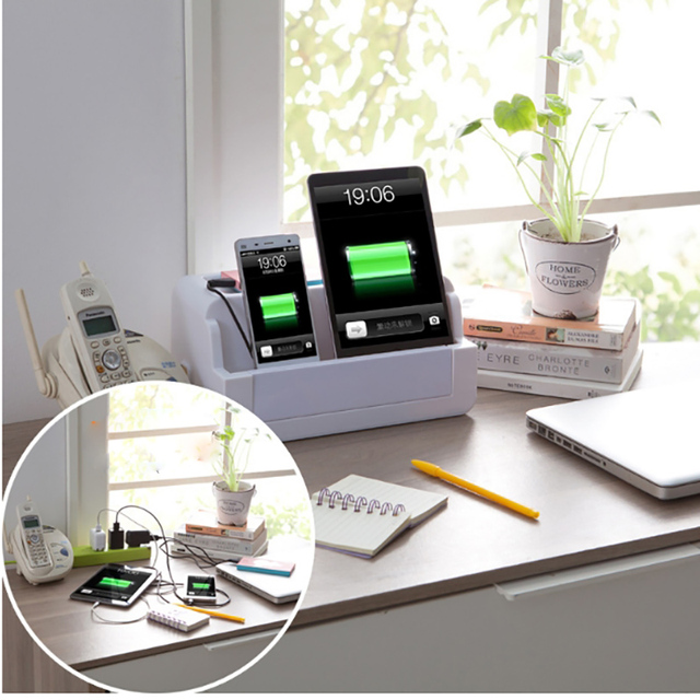 Desktop Mobile Charging Station Powder Strip Organizing Box Home Office  Plastic Storage Organizer Organizador Kjl077