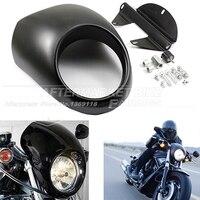 39mm Motorcycle Matte Black Headlight Plastic Front Visor Fairing Cool Mask Bezel For Harley 883 XL1200