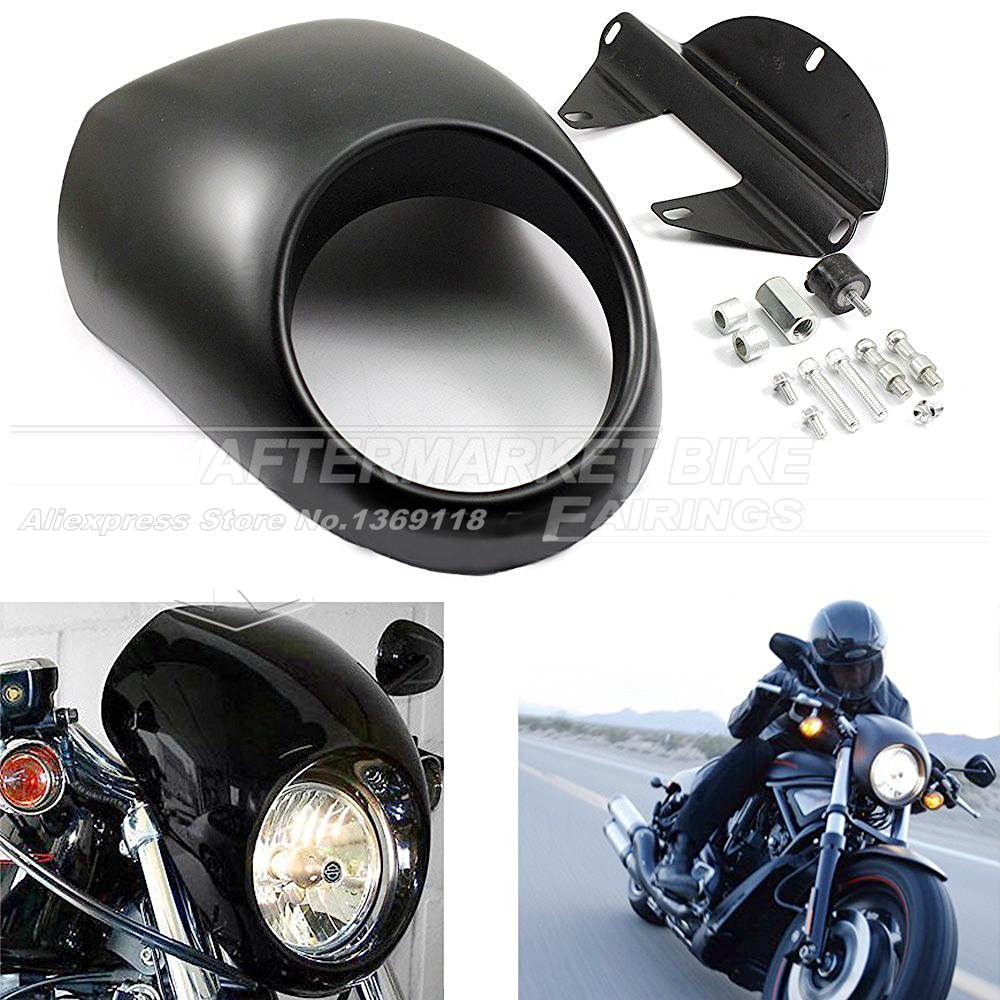 ᐃ39mm motocicleta negro mate faro carenado delantero plástico ...