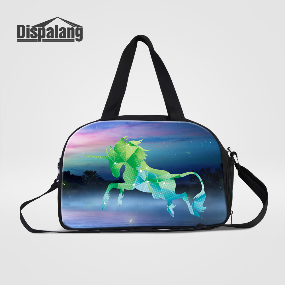 Dispalang Galaxy Universe Unicorn Design Travel Duffle Bags For Teenage Girls Women Fashion Clothes Organizer Laides Weekend Bag