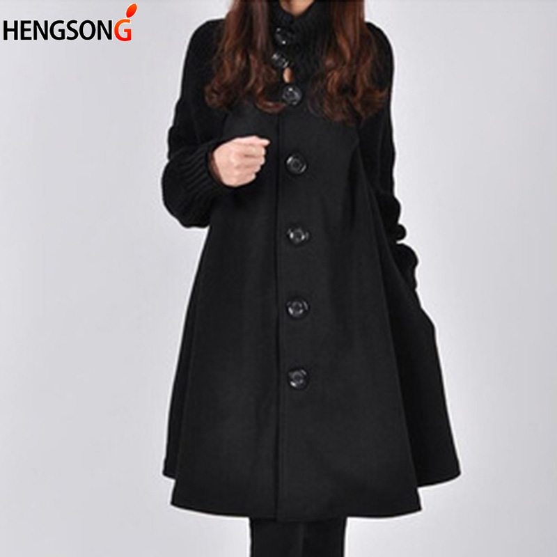 Royaume-Uni disponibilité 71281 8c9df US $20.43 32% OFF|Long Female Jacket Overcoat Cloak Windbreaker Loose  Winter Wool Coat Women Autumn Manteau Femme Hiver Cape Warm Tweed-in Wool &  ...