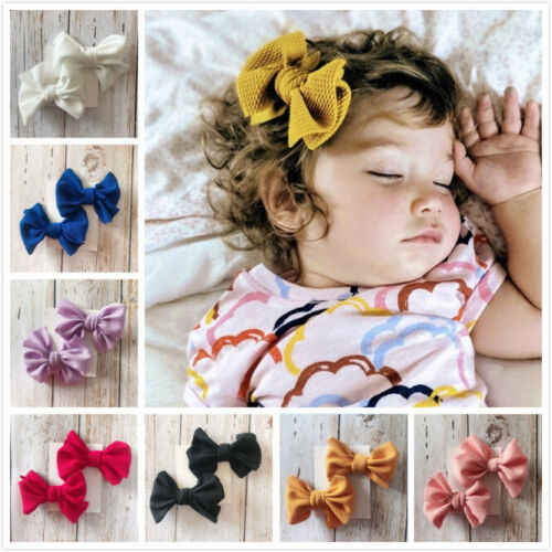 2Pcs Infant Kids Baby Girls Hair Bow Clips Headwear Ribbon Bowknot Barrettes Baby Headwear