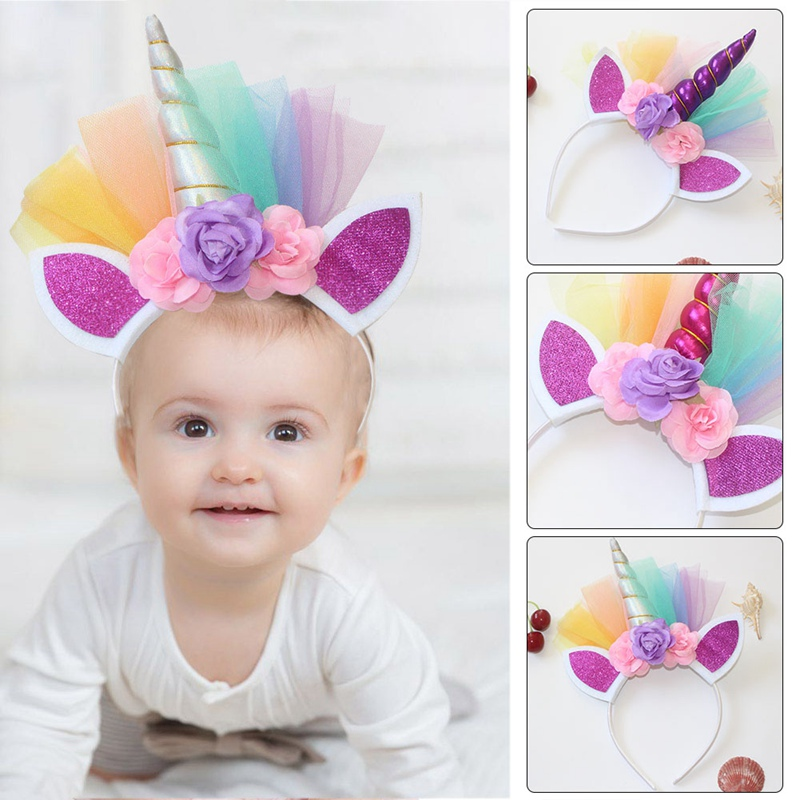 Confident Floral Unicorn Horn Headband With Ears Girls Adult Hairband Costume Fancy Dress Hair Accessories Novelty & Special Use Costume Props