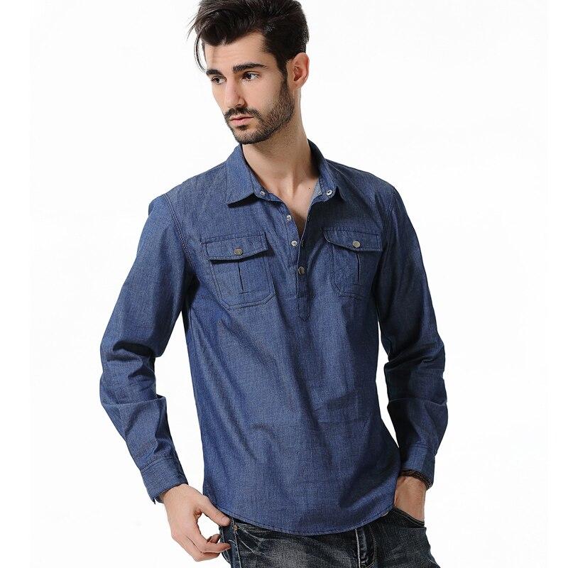 2017 New Style Men S Urban Fashion Shirt Denim Long Sleeved Shirt