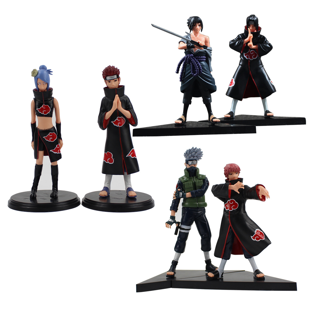 2pcs/lot 15cm Naruto Uchiha Sasuke Uchiha itachi Yahiko Konan PVC Action Figures Collectible Model Toy for gifts naruto shippuden uchiha itachi pvc action figure collectible model toy doll 27cm kt1322