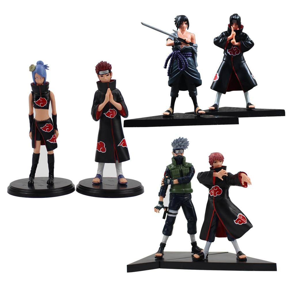 2pcs/lot 15cm Naruto Uchiha Sasuke Uchiha itachi Yahiko Konan PVC Action Figures Collectible Model Toy for gifts