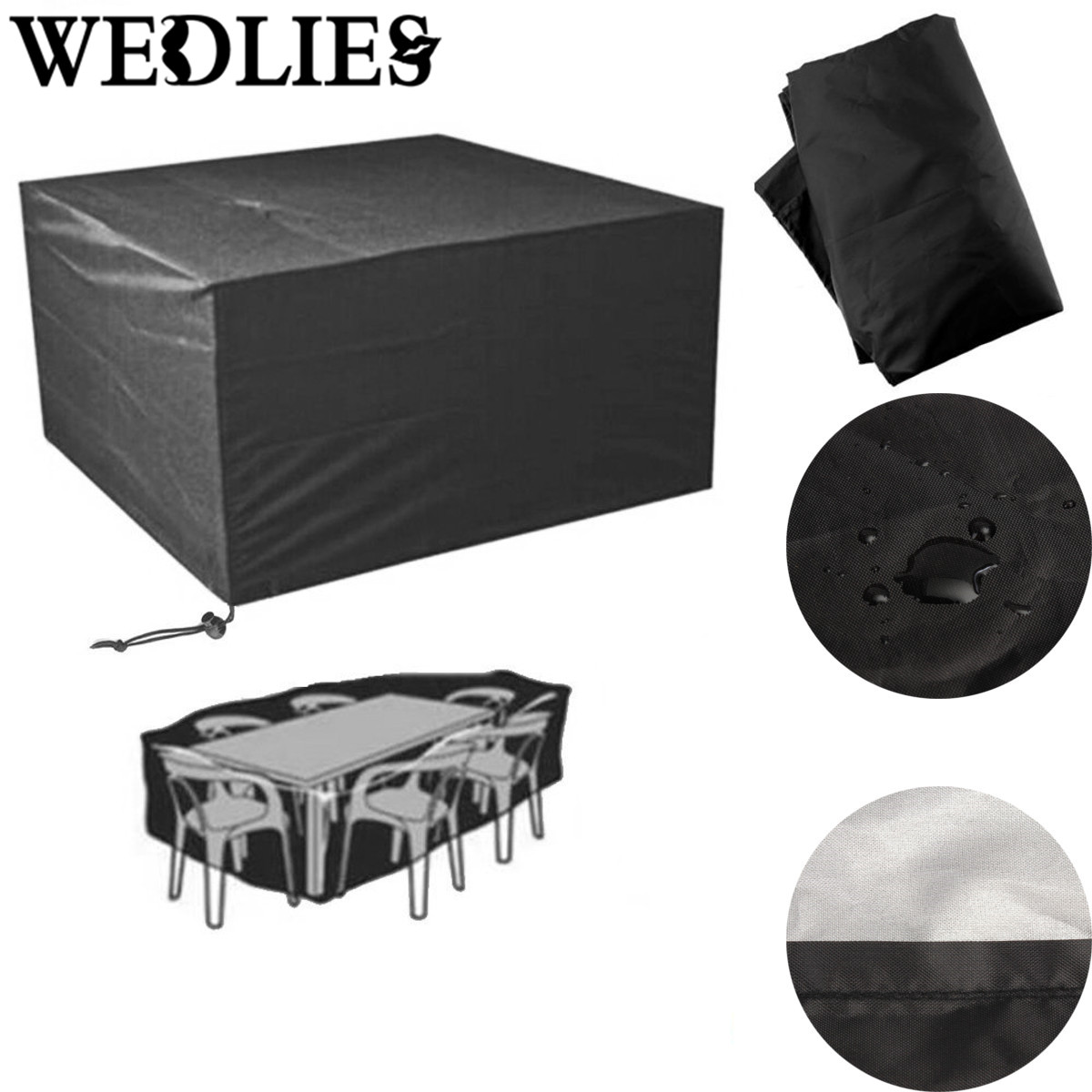 Square Outdoor Patio PVC Polyester Furniture Cover Waterproof 6 Seater Table  Chair Cover Black Table Cloth