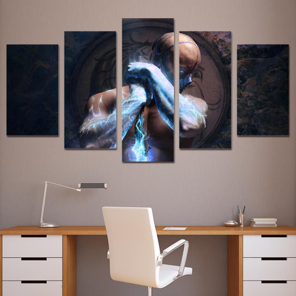 5 panel HD Dicetak sub-zero mortal kombat Lukisan di atas kanvas - Hiasan rumah - Foto 2