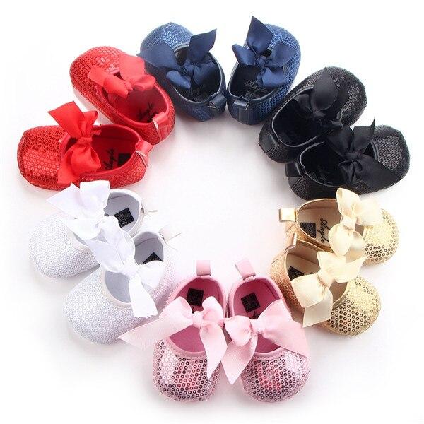 Новые милые Блёстки новорожденных Обувь для девочек принцесса Мэри Джейн большой бант на мягкой подошве Обувь кроватки Babe балетное платье ... ...