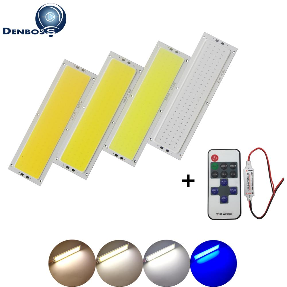 HOT dimmable 12V 120x36mm Light 12W tubes Natural Warm White Blue RF remote dimmer COB LED Chip for DIY Car Lamp LED COB Strip