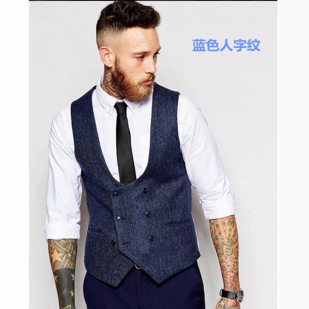 S-4XL Summer fashion vintage men double breasted slim suit vest bar plus size clothing business vest Male black vest costumes