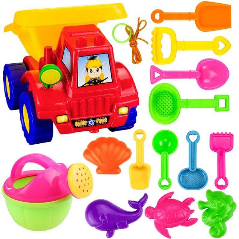 14pcs/set Kids Beach Toys Sand Castle Plastic Tool Spade Shovel Rake Watering Car Can Beach Sand Dune Tool Toys For Children