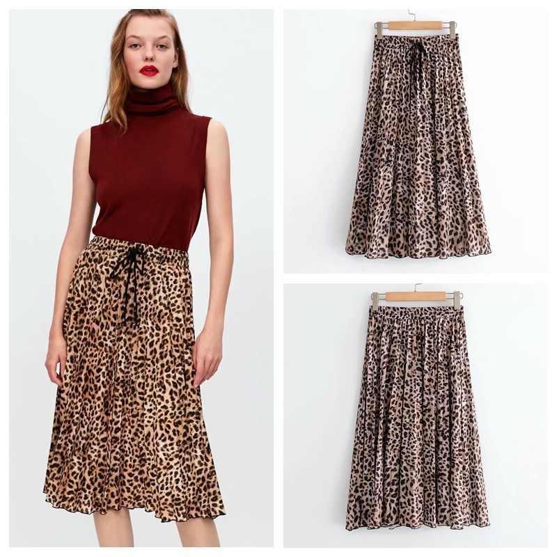 15b692e195e7ea Vintage Animal Print Leopard Pleated Skirt Women Beach Lace-Up Elastic Waist  Mid Calf Skirt