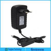 Geekworm DC 5V 3A Power Adapter With Switch For Raspberry Pi EU Plug
