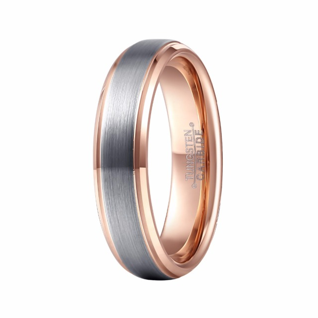 Mens Wedding Band Tungsten Ring Two Tone 6mm Brushed Silver With Rose Gold Color Man Male