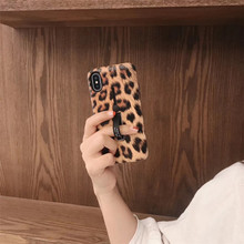Cyato Vintage Leopard Print Silicone Ring Phone Case For iPhone 7 Case Hide Stand Holder Cover For iPhone 6 6s 8 X XS MAX capa стоимость
