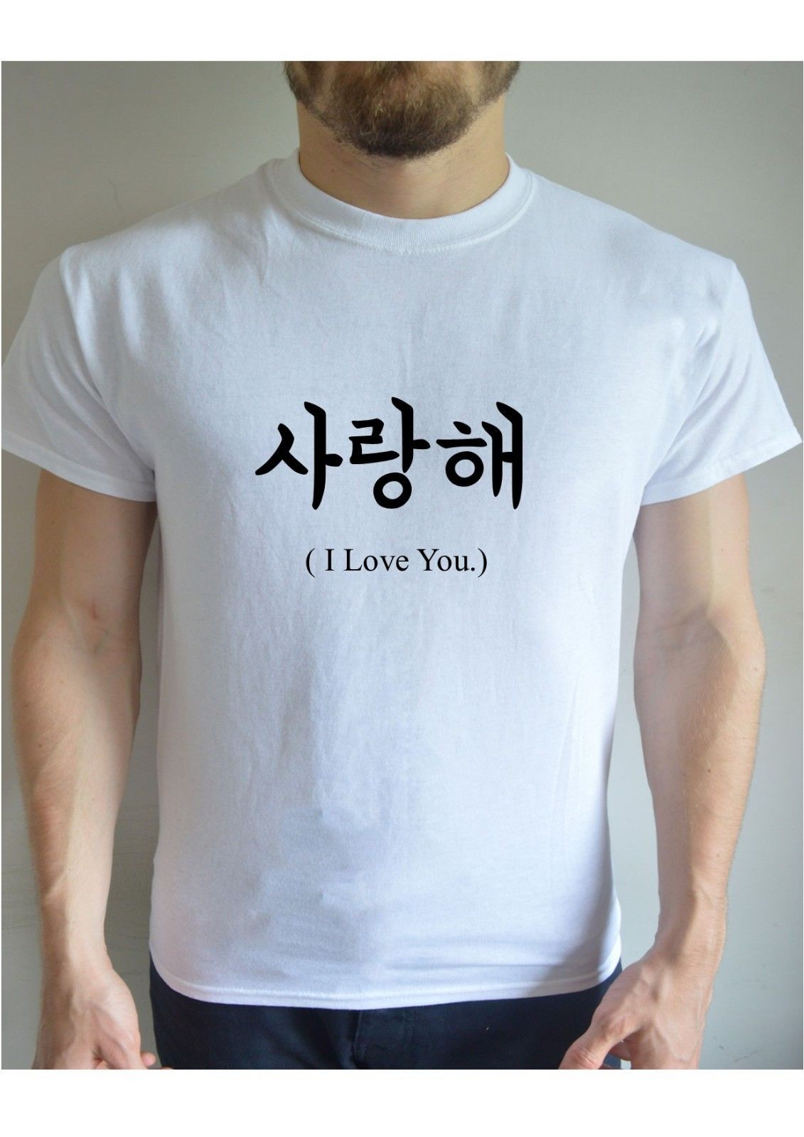 2e154a6f0d I LOVE YOU Korean Printed T Shirt Top Tee Fashion Korea K pop K drama Men