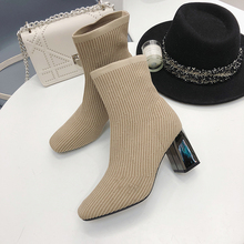 Sock Boots Women High Heel Ankle Ladies Autumn 2019 New Elegant Sexy Black Slip On Winter